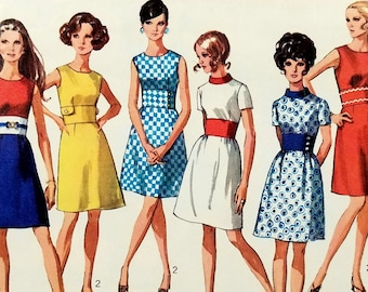 Vintage 1960s Mod Dress Pattern Simplicity 8087 Bust 36 A Line Dress Midriff Inset