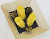 Vintage Reverse Carved Lucite Brooch Trio of Yellow Roses