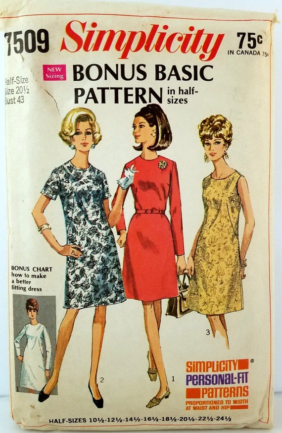 Plus Size Vintage 1960s Dress Pattern Simplicity 7509 Bust 43 Etsy