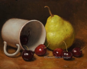 Pears and Cherries, Reproduction Fine Art Print