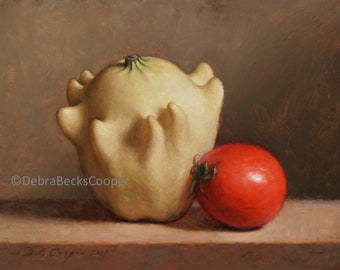 White Gourd and Tomato, Reproduction Fine Art Print