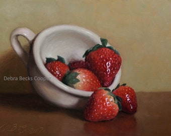Cup of Strawberries, Reproduction Fine Art Print