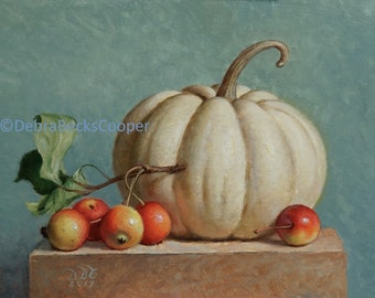 White Pumpkin and Crab Apples, Reproduction Fine Art Print