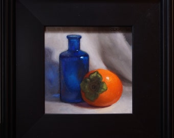"Original Oil Painting,Framed, ""Persimmon and Blue Bottle"""
