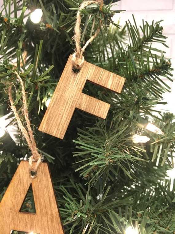 Rustic Initial Wooden Ornament