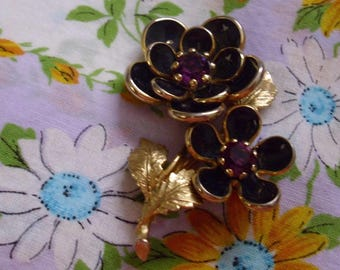 Vintage Black Flowers with Purple Rhinestone centers Pin Brooch