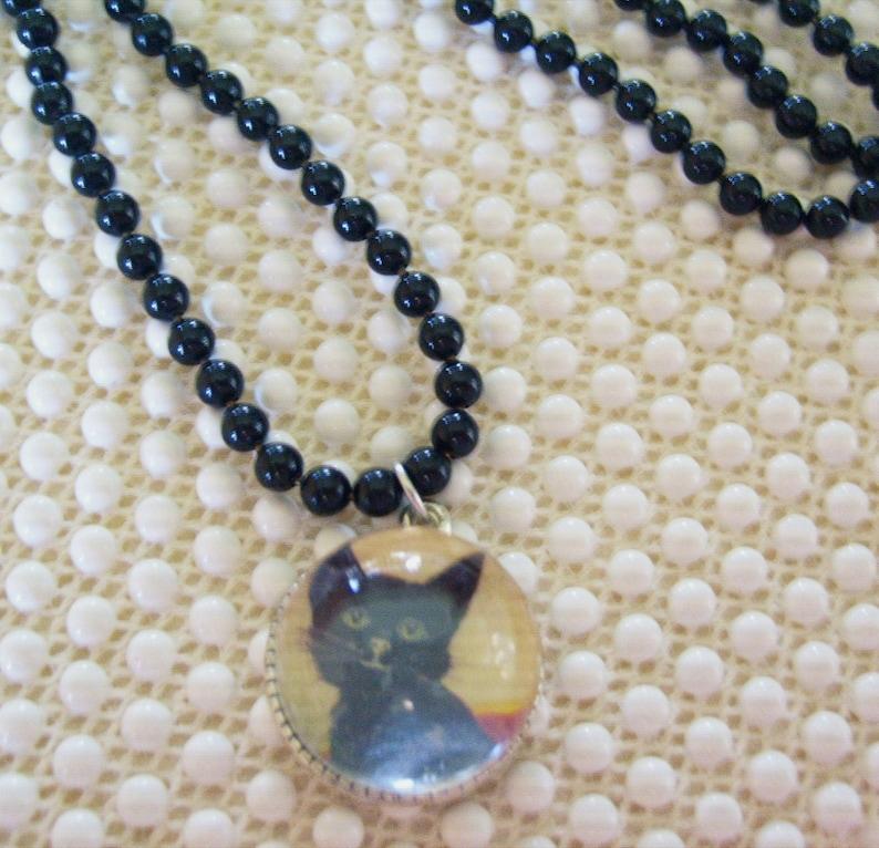 Black Cat Bubble Pendant Black enamel Necklace