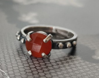 sale- PUMPKIN SPICE silver and onyx ring