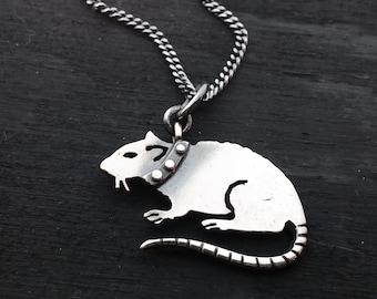 Sale- PUNK RAT-silver necklace