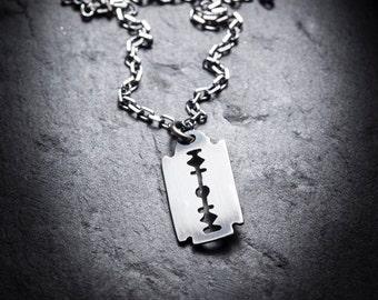 SALE- Small RAZOR BLADE necklace