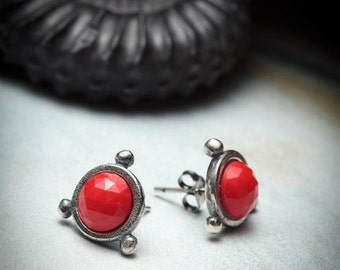 sale- CHERRY BOMB- sterling silver stud with red glass cabochon