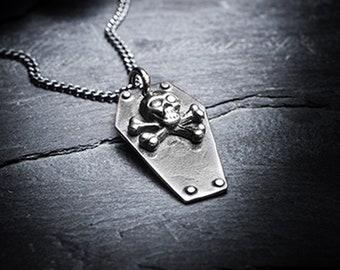 sale- LAFAYETTE silver coffin necklace