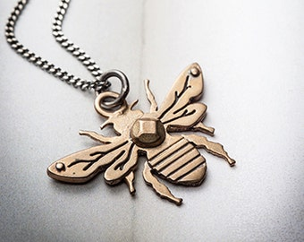 HONEY BEE-bronze and silver bee necklace