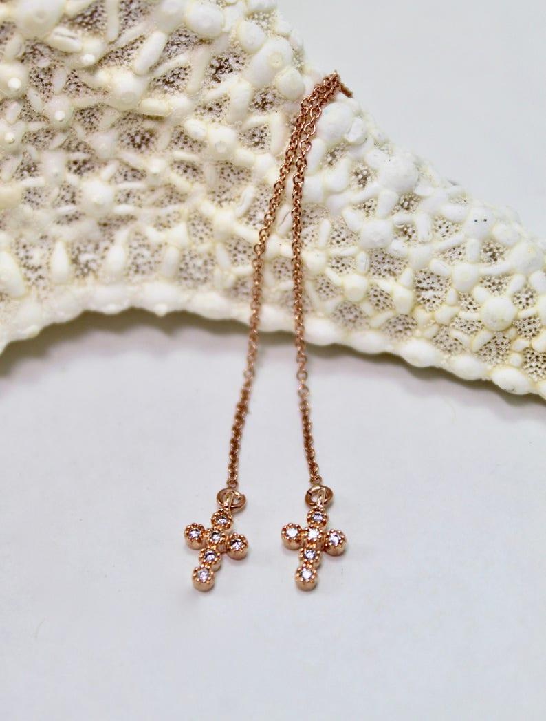 Tiny Pave Rose Gold Cross Threader Earrings