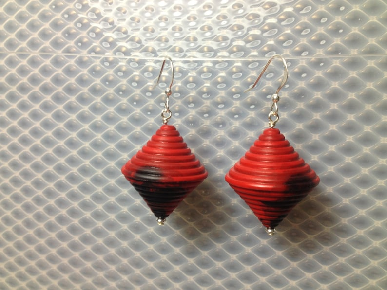 Lantern shaped earrings in red and cobalt blue. image 0
