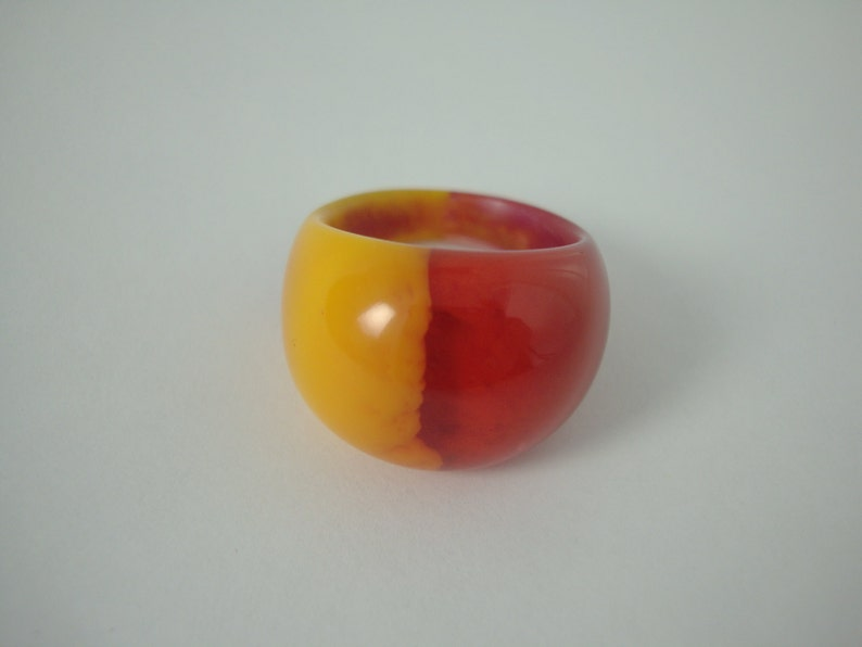 Fall Colors Half-n-Half Dome Ring Size 8 image 0