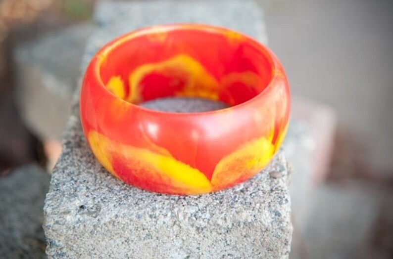 Thick mod bangle bracelet yellow and red flame orange image 0