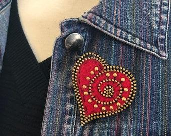 Beaded red wool felt and zipper heart brooch