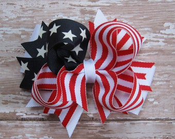 Petite 4 inch Patriotic Red White Navy Blue Stars & Stripes July 4th Independence Day Layered Boutique Hair Bow