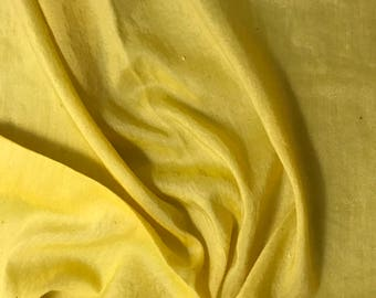 ee2014e178ef Metallic Silver Luster Hand Dyed MUSTARD YELLOW Silk and Cotton Voile  Batiste Fabric - 1 Yard