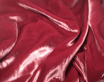 LUXURY Crushed Velvet Velour Fabric Material OLD ROSE