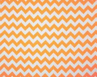 Chevron Neon Orange Cotton Quilting Fabric Riley Blake
