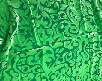 "Hand Dyed Burnout Silk VELVET Fabric EMERALD GREEN POLKA DOTS 9/""x22/"" remnant"