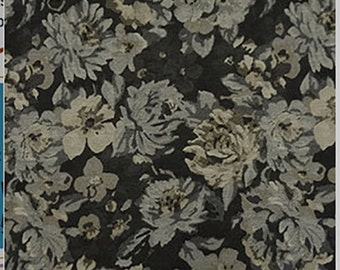Charcoal Gray FLORAL JACQUARD Suiting Home Dec Fabric 1//4 Yard remnant