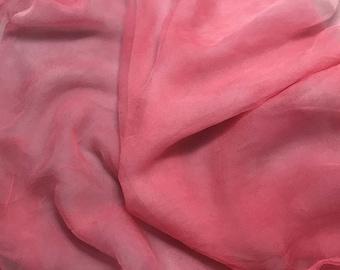 """Hand Dyed BUBBLEGUM PINK China Silk HABOTAI Fabric 18/""""x22/"""""""