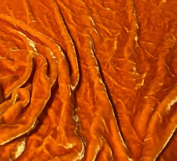Hand Dyed PUMPKIN ORANGE Silk VELVET Fabric
