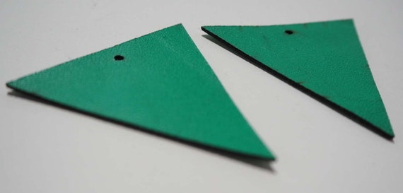 Leaf Laser Cut Shapes 2 Pc Emerald Green Lambskin Leather