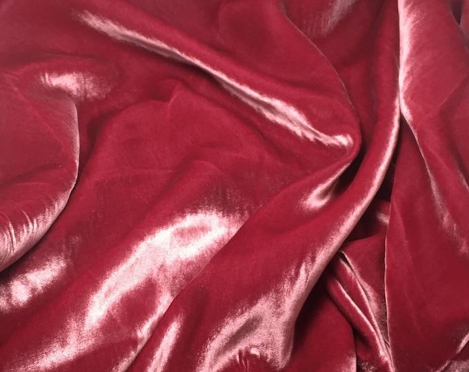 ANTIQUE ROSE Silk Velvet Fabric - 1 Yard