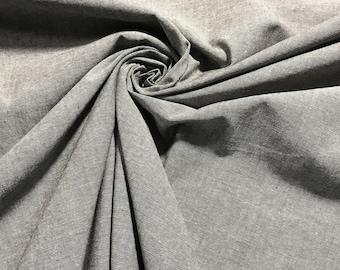 Gray 100% Cotton Chambray Fabric