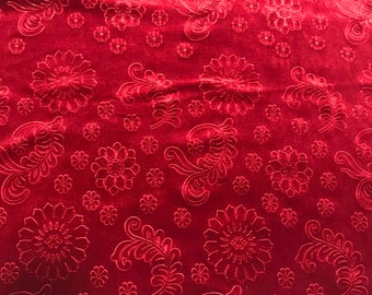 Scarlet Red Feathers & Flowers - Embossed Stretch Poly Velvet Fabric