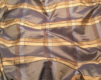 Remnant Sale - Blue & Beige PLAID Silk TAFFETA Fabric 1 Yard