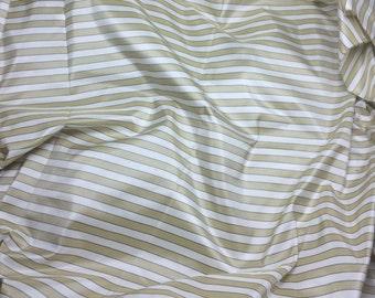 Golden Beige Stripe Silk TAFFETA Fabric - 1/4 Yard
