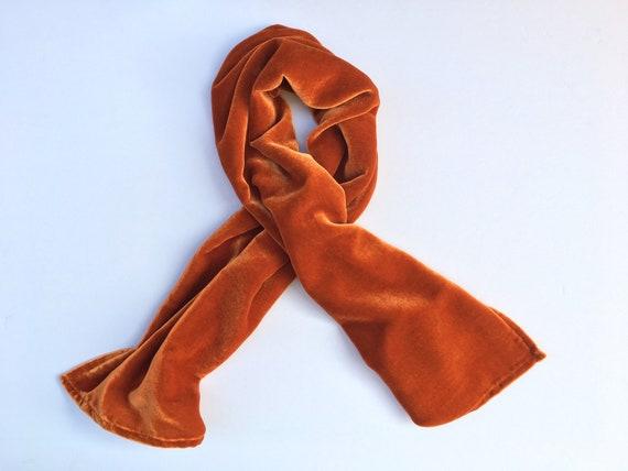 """Silk Velvet Scarf in IRIDESCENT PUMPKIN ORANGE Handmade 12x42/"""""""