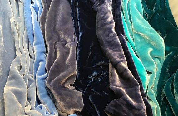 Hand Dyed Silk Velvet Fabric Big Blues Sample Set 9x22 Each