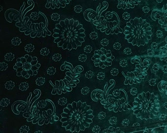 Hunter Green Feathers & Flowers - Embossed Stretch Poly Velvet Fabric