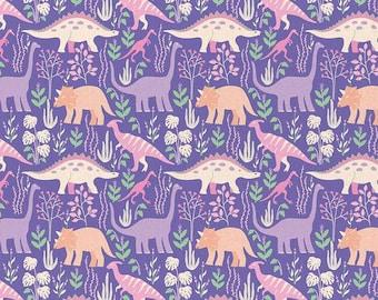 Dinosaur Stories - Land Dinos Purple - Paintbrush Studio Cotton Fabrics