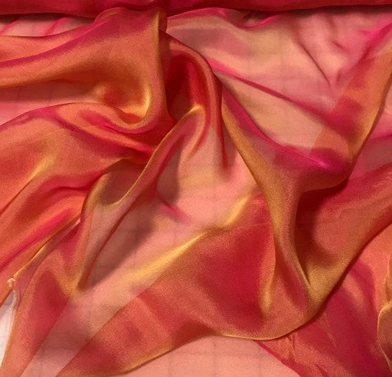 Iridescent Silk Chiffon Fabric Bronze
