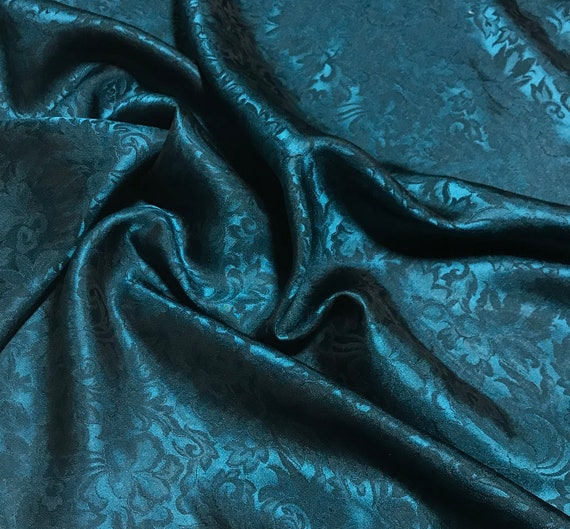 Silk Jacquard Fabric Emerald Green Baroque Scroll