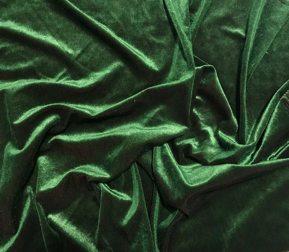 Iridescent Forest Green// Maroon Stretch Polyester Velvet Fabric