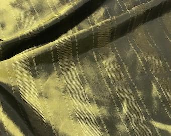 Olive Green Stripe - Faux Silk Taffeta Fabric