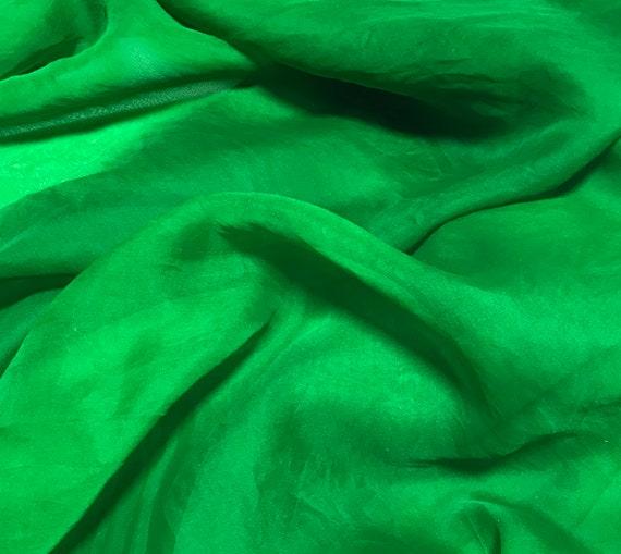 Hand Dyed Bright Kelly Green Silk Organza Fabric