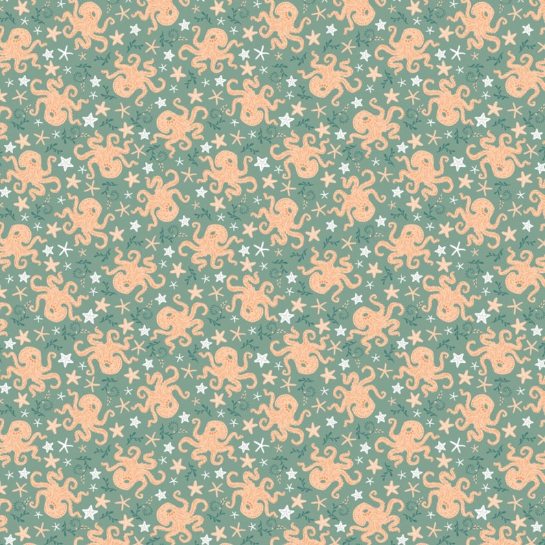 Camelot Cotton Fabric Beachside Pretty Octopus Green