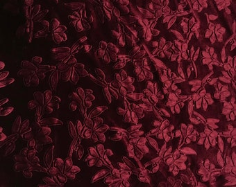 Maroon Floral - Embossed Stretch Poly Velvet Fabric
