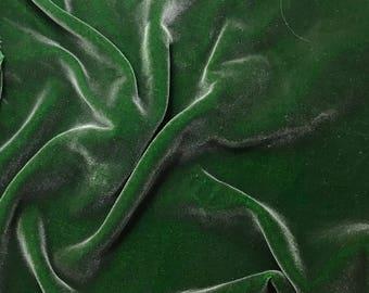 Hand Painted Silk Velvet Fabric - Silver on Kelly Green - 1 Yard