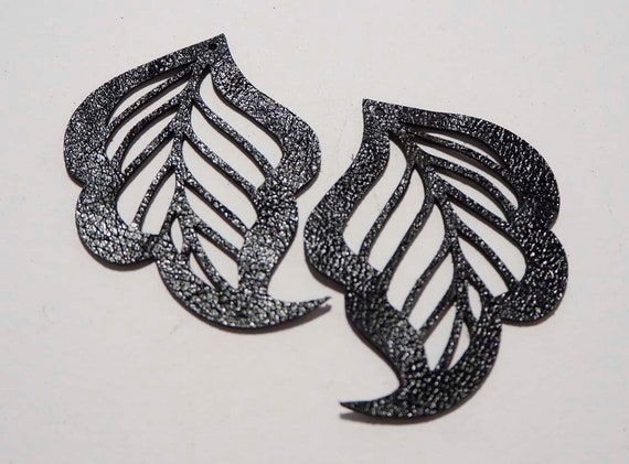 Laser Cut Shapes 2 Pc Cut Out Leaf Black Lambskin Leather