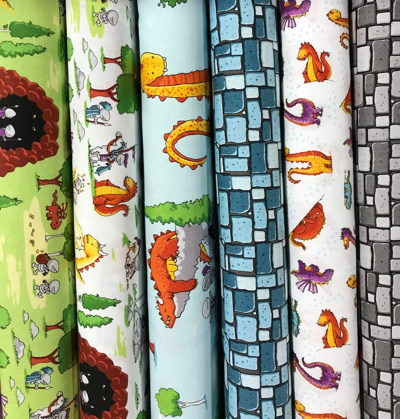 Cotton Fabric Fat 14 Set 22 Pcs Dragons by Ben Byrd for Riley Blake Designs